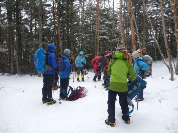 樹林帯をしばらく歩きお昼休憩。休憩が長いと体が冷えてしまうので短めに。 例年であれば登山道に雪がたくさんあって石があまり出ていませんが、今年は雪が少なく気温が高い為、石がたくさん出ていて凍っていてカリカリです。