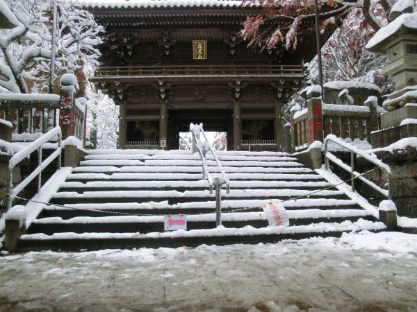 落雪でキケンの為薬王院の門は通行止め。初めての体験。