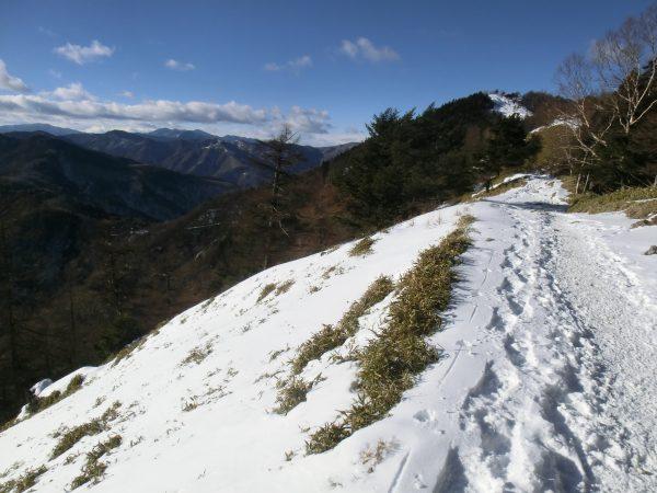 右に雲取山も間近になりました。赤い屋根の避難小屋が見えます。左の山並みは奥秩父で甲武信岳と金峰山(左奥)